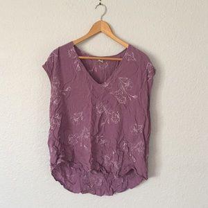 Purple & White Floral Sleeveless Top